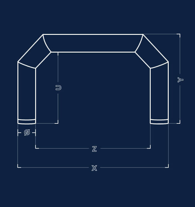 Information sketch of square shape inflatable for event tent